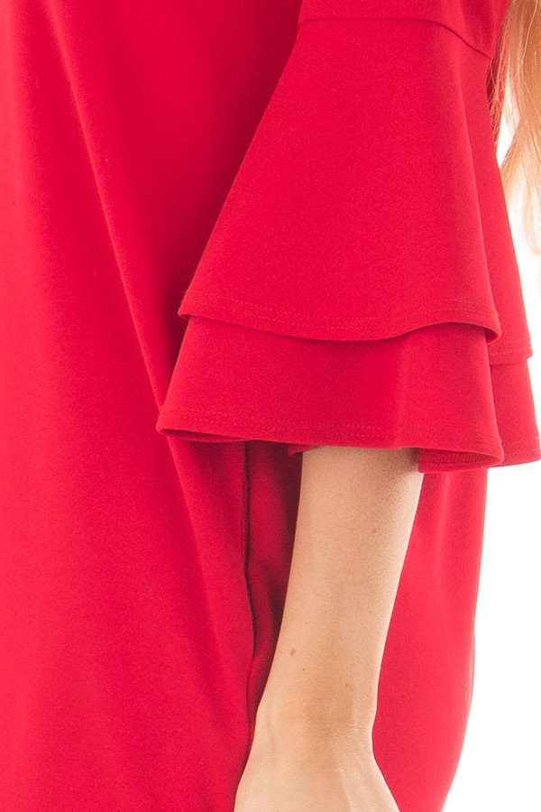 Lipstick Red 3/4 Tiered Bell Sleeve Dress side detail
