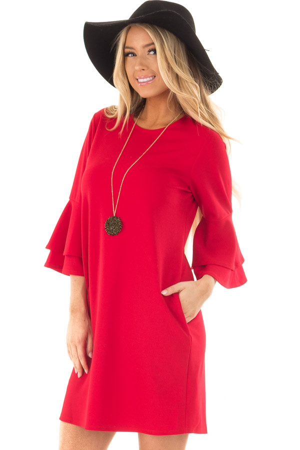 Lipstick Red 3/4 Tiered Bell Sleeve Dress front closeup