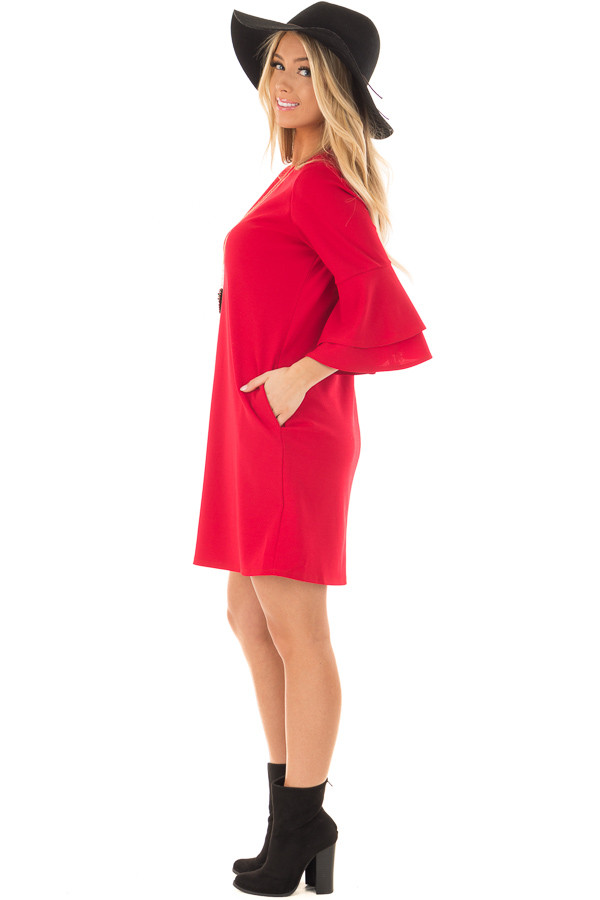 Lipstick Red 3/4 Tiered Bell Sleeve Dress side full body