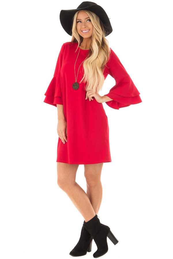 Lipstick Red 3/4 Tiered Bell Sleeve Dress front full body
