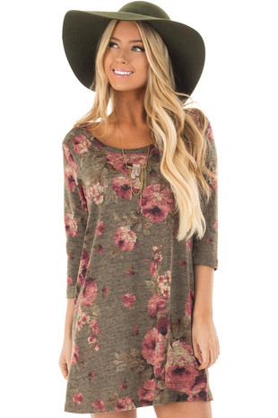 Olive Floral Print 3/4 Sleeve Tunic front close up