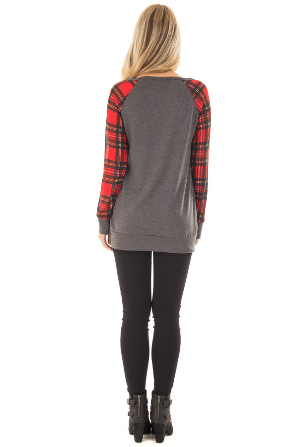 Charcoal Top with Red Plaid Long Sleeves and Sequin Pockets back full body
