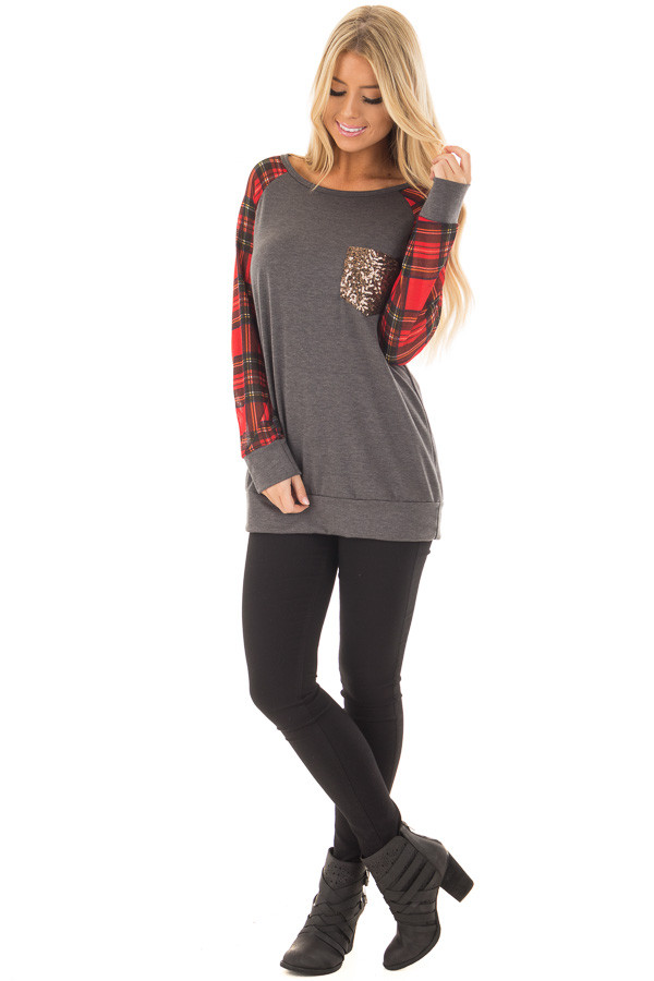 Charcoal Top with Red Plaid Long Sleeves and Sequin Pockets front full body