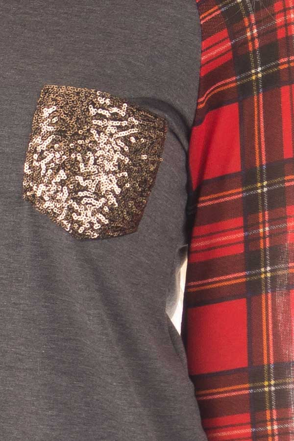 Charcoal Top with Red Plaid Long Sleeves and Sequin Pockets detail