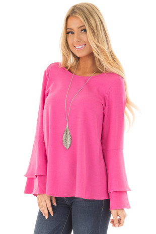 Hot Pink Top with Long Tiered Bell Sleeves front close up