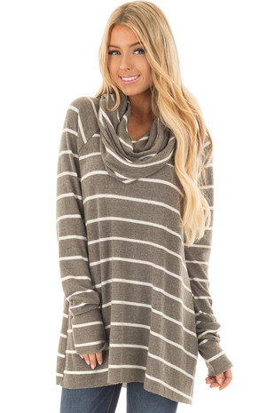 Olive Striped Cowl Neck Soft Sweater front closeup