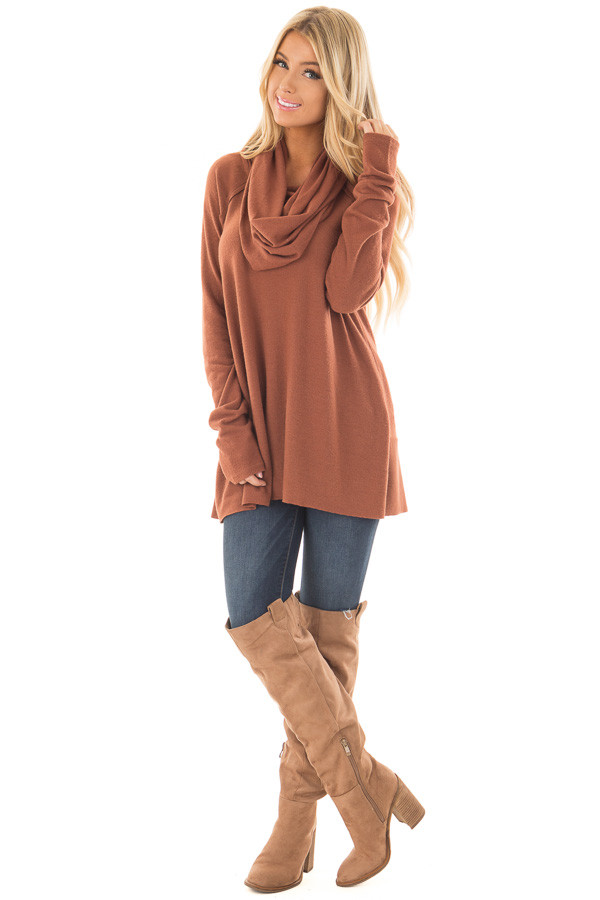Rust Super Soft Cowl Neck Sweater - Lime Lush Boutique