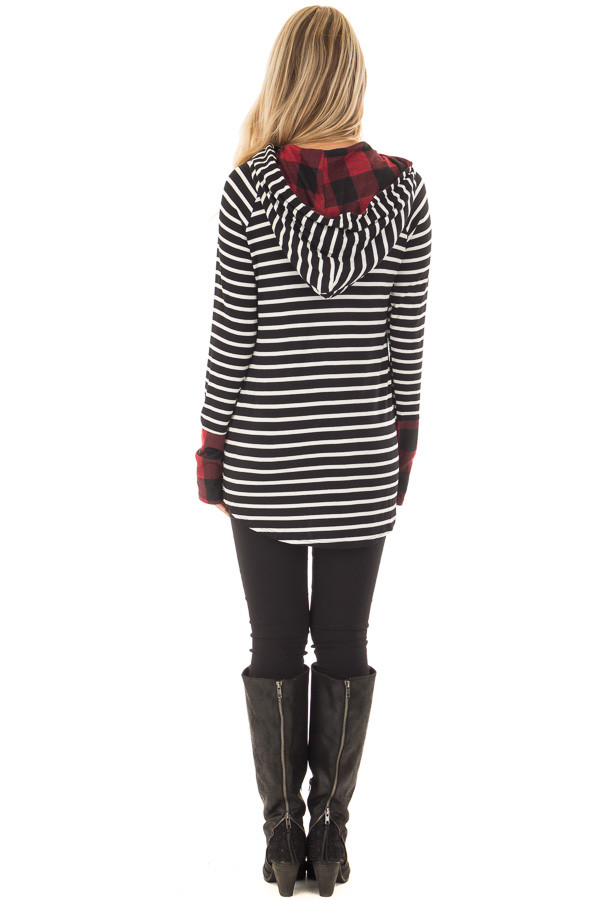 Black and Ivory Striped Hoodie with Red Plaid Contrast back full body
