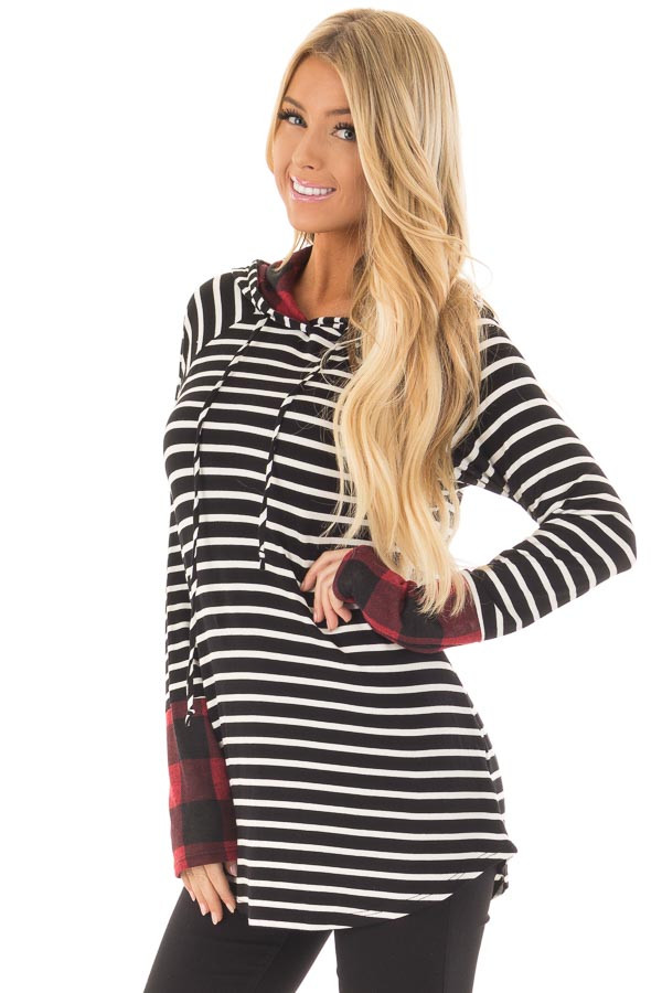 Black and Ivory Striped Hoodie with Red Plaid Contrast front close up