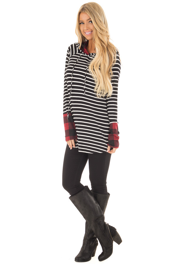 Black and Ivory Striped Hoodie with Red Plaid Contrast front full body