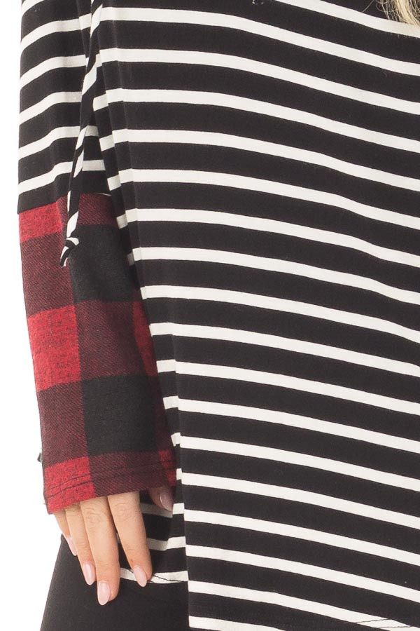 Black and Ivory Striped Hoodie with Red Plaid Contrast detail