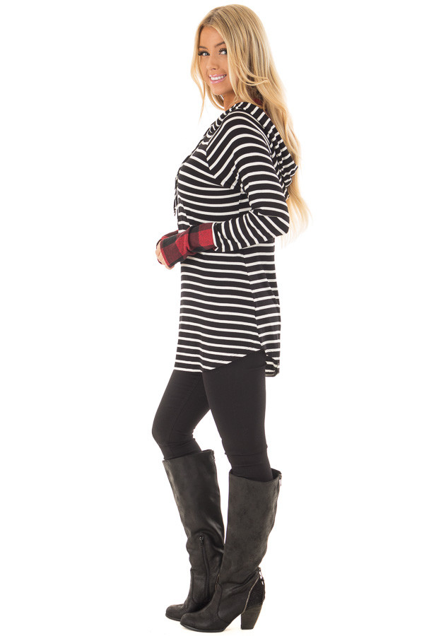 Black and Ivory Striped Hoodie with Red Plaid Contrast side full body