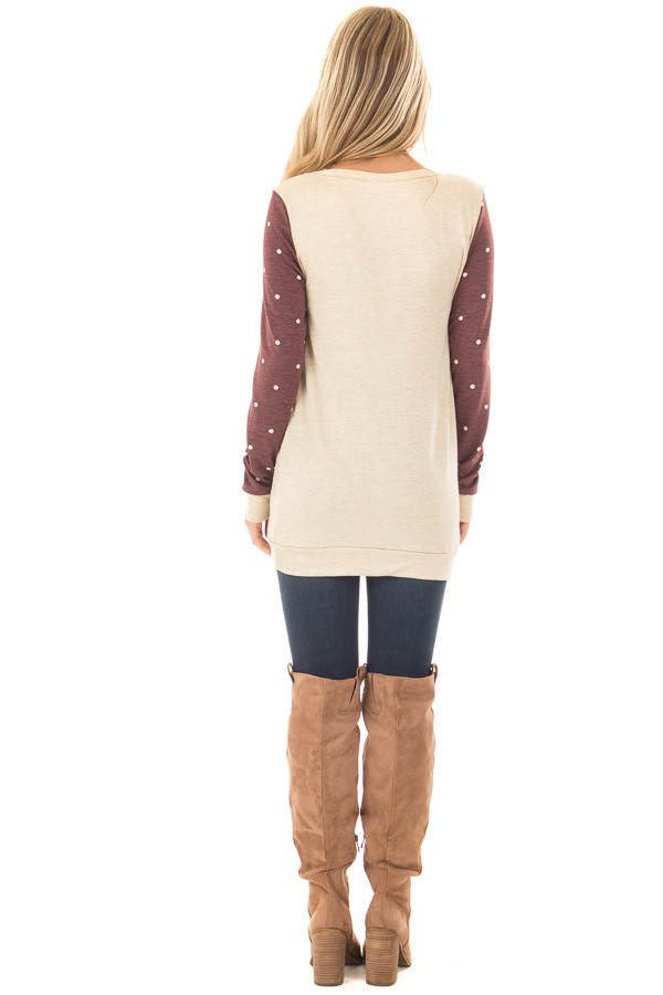 Cream and Burgundy Reindeer Top with Polka Dots back full body