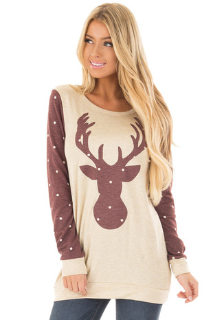 Cream and Burgundy Reindeer Top with Polka Dots front close up