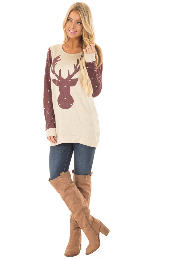 Cream and Burgundy Reindeer Top with Polka Dots front full body