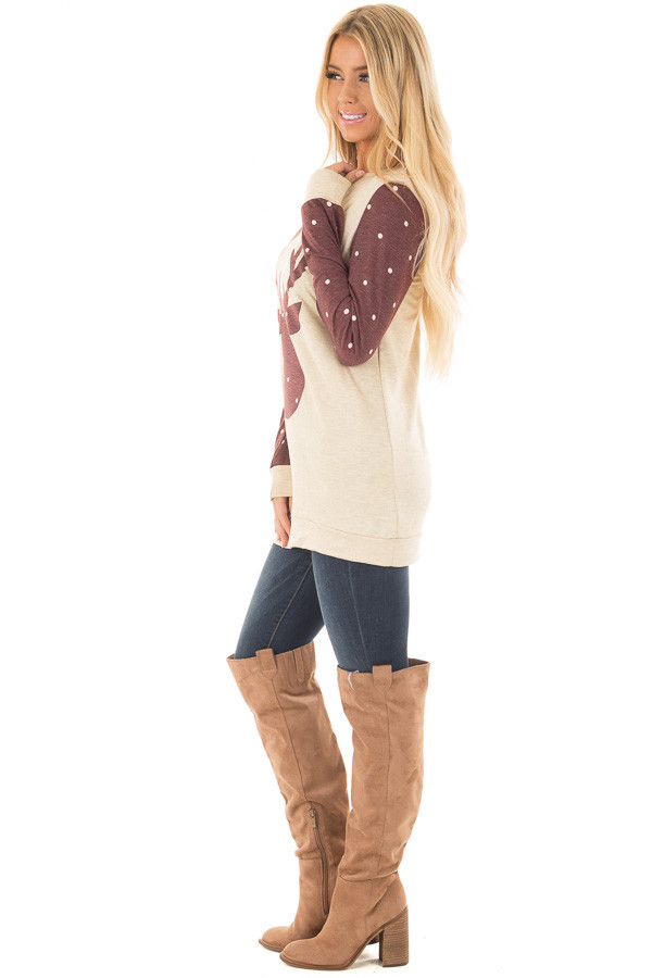 Cream and Burgundy Reindeer Top with Polka Dots side full body