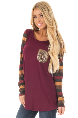 Burgundy Top with Striped Sleeves and Sequin Detail front close up