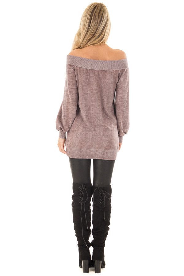 Dusty Mauve Off the Shoulder Top with Kangaroo Pocket back full body