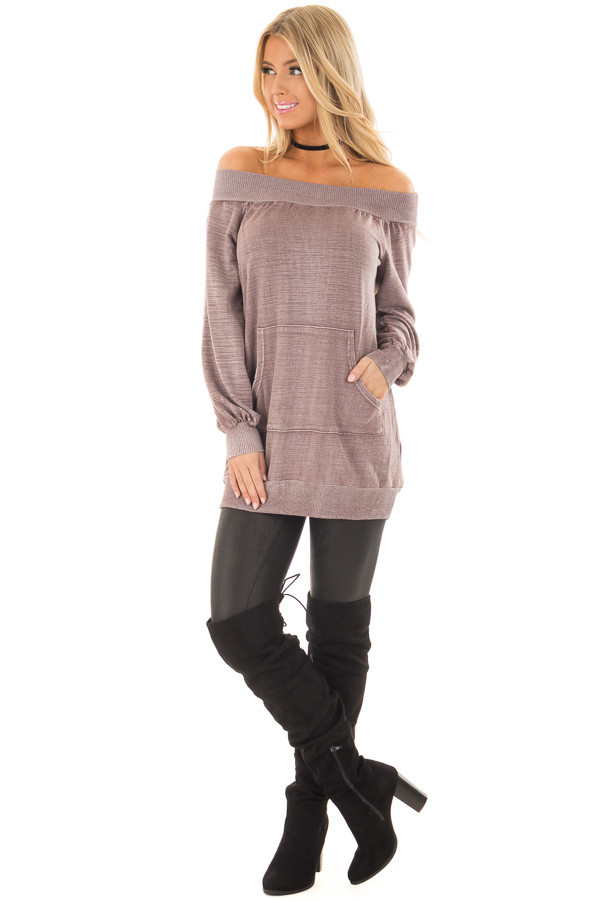 Dusty Mauve Off the Shoulder Top with Kangaroo Pocket front full body