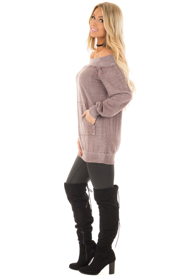 Dusty Mauve Off the Shoulder Top with Kangaroo Pocket side full body