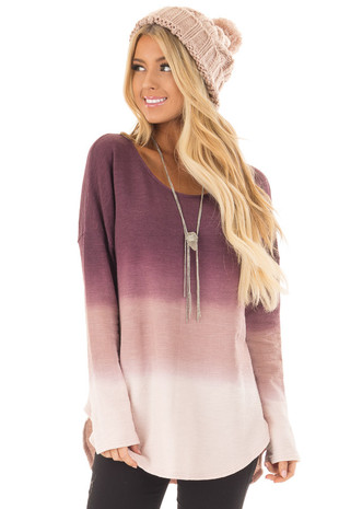 Mauve Ombre Long Sleeve Top front close up