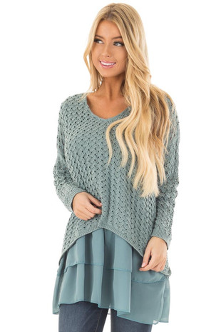 Slate Blue Long Sleeve Sweater with Chiffon Contrast front close up