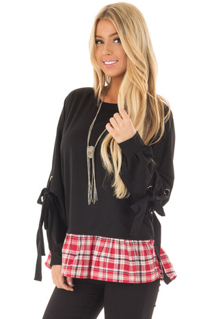 Black Top with Sleeve Ties and Red Plaid Contrast front close up