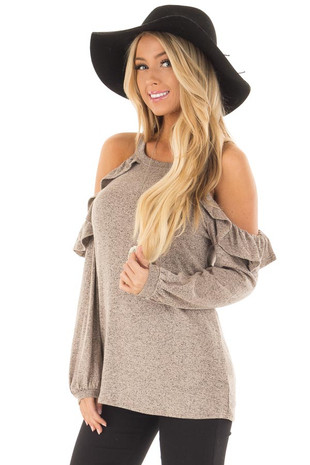 Taupe Two Tone Cold Shoulder Top with Ruffle Details front close up