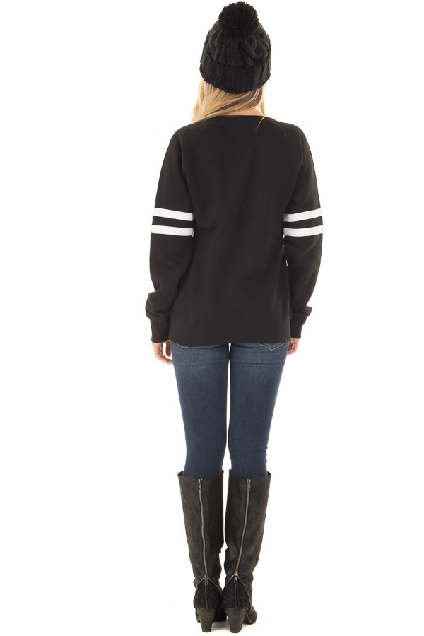 Black 'I Am Freaking Cold' Sweater with Stripe Details back full body