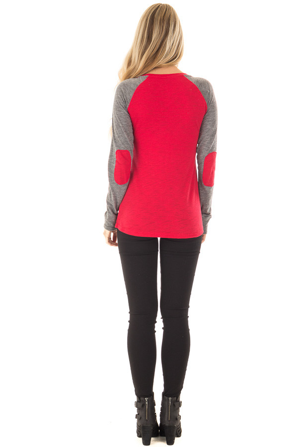 Festive Red 'Merry and Bright' Raglan Tee with Elbow Patches back full body