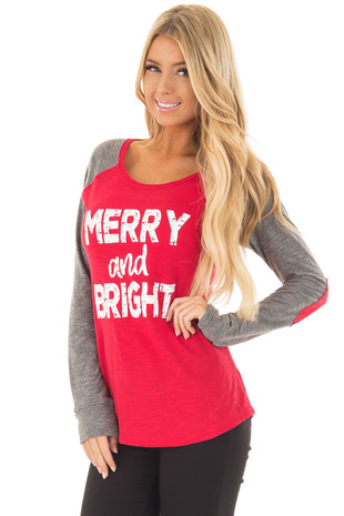 Festive Red 'Merry and Bright' Raglan Tee with Elbow Patches front close up