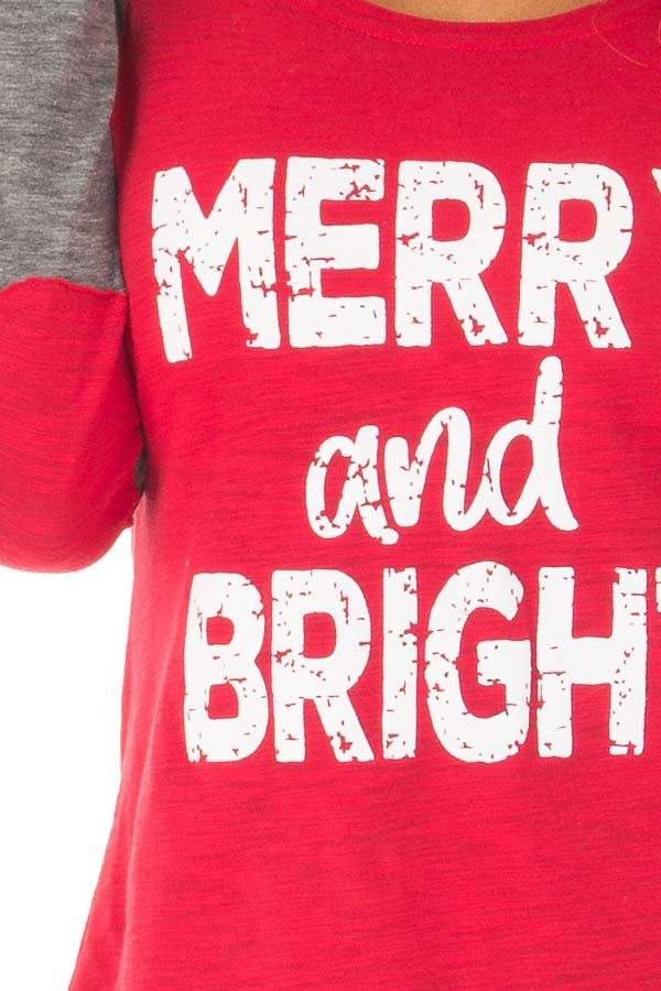 Festive Red 'Merry and Bright' Raglan Tee with Elbow Patches detail