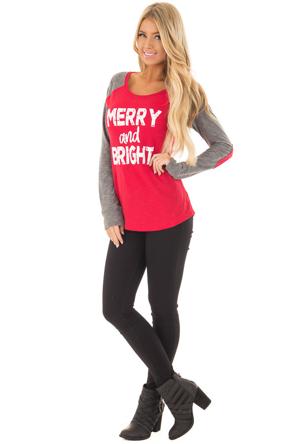 Festive Red 'Merry and Bright' Raglan Tee with Elbow Patches front full body