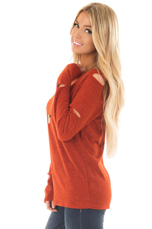 Rust Lightweight Sweater with Slit Details on Sleeves side close up