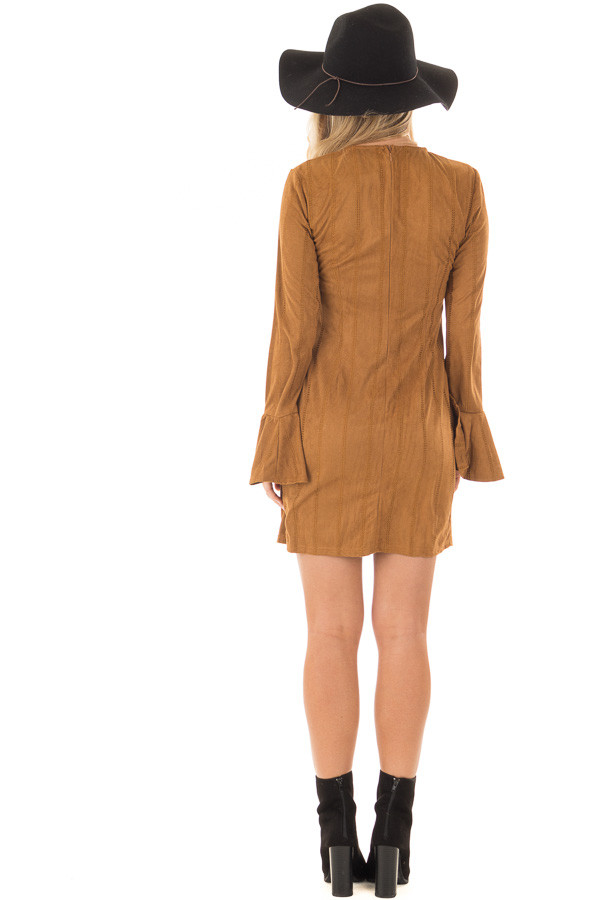 Camel Striped Short Dress with Long Bell Sleeves back full body