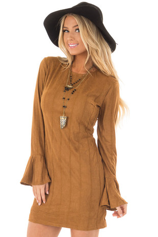 Camel Striped Short Dress with Long Bell Sleeves front close up