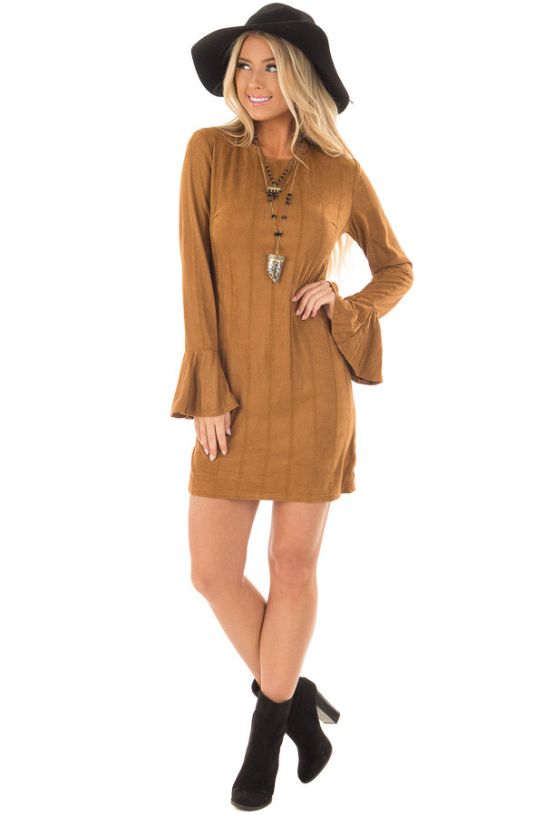 Camel Striped Short Dress with Long Bell Sleeves front full body