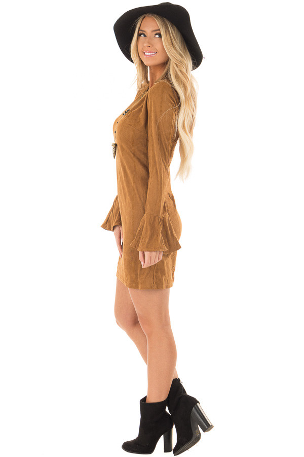 Camel Striped Short Dress with Long Bell Sleeves side full body