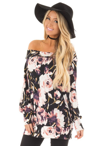 Black Floral Print Off the Shoulder Top front close up