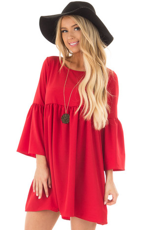 Red Ruffle Babydoll Tunic Dress front closeup