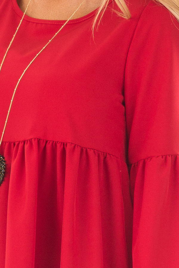 Red Ruffle Babydoll Tunic Dress front detail