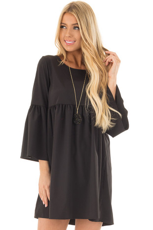 Black Ruffle Babydoll Tunic Dress front closeup