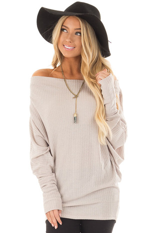 Misty Lilac Grey Oversized Off the Shoulder Waffle Knit Top front closeup