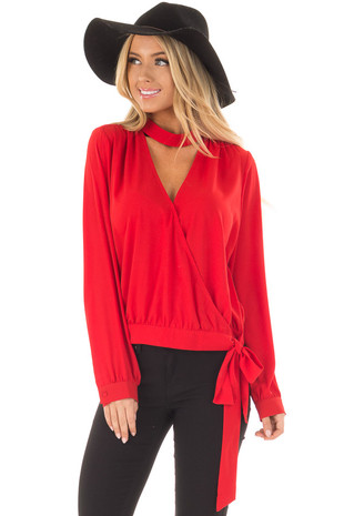 Lipstick Red Top with Chest Cutout and Front Tie front closeup