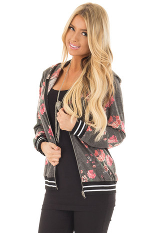 Charcoal Floral Print Zip Up Hoodie with Striped Trim front closeup