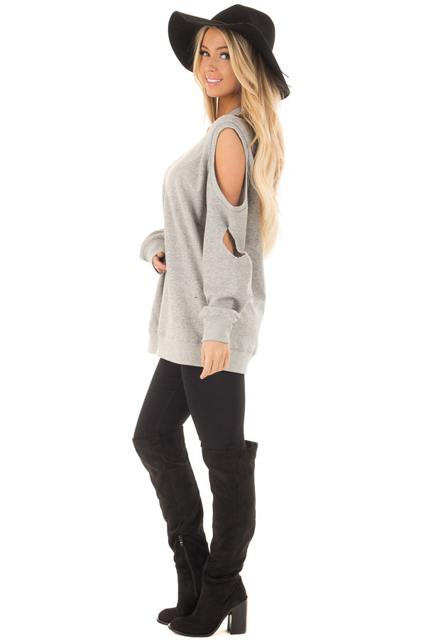 Heather Grey Distressed Cold Shoulder Sweater side full body