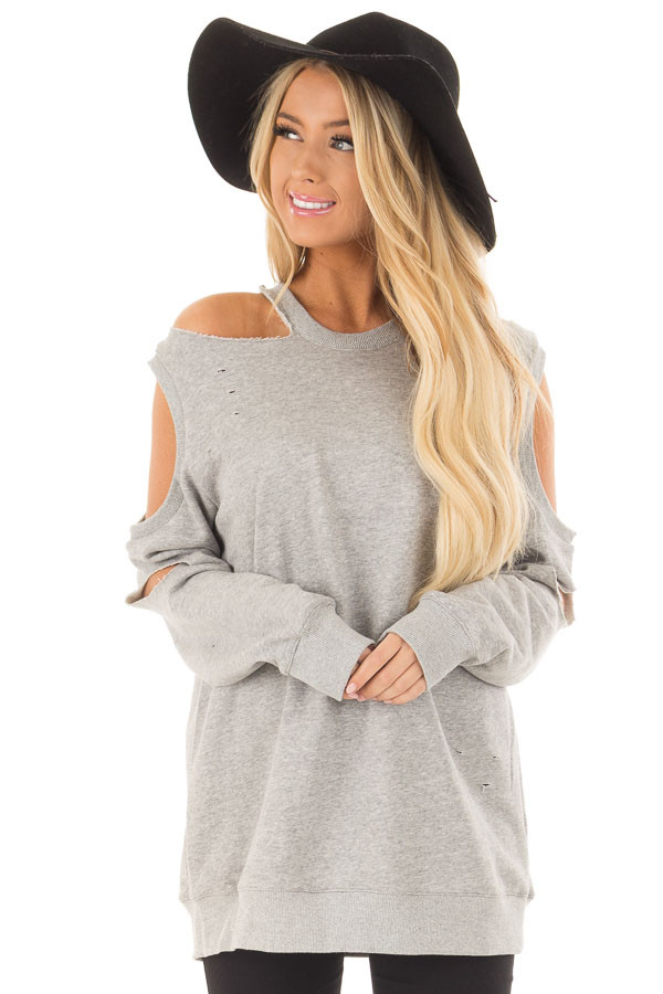 Heather Grey Distressed Cold Shoulder Sweater front closeup