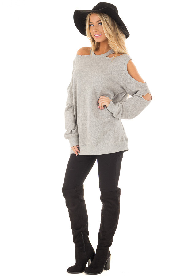 Heather Grey Distressed Cold Shoulder Sweater front full body