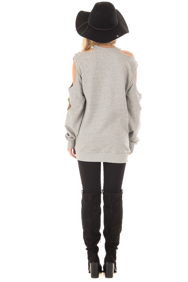 Heather Grey Distressed Cold Shoulder Sweater back full body