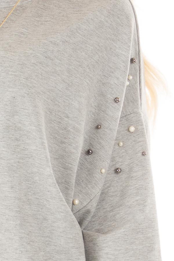 Heather Grey Oversized Sweater with Beaded Details front detail